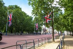 The Mall, street in front of Buckingham Palace in London. The Mall, street in front of Buckingham Palace. The Mall - The Diana Princess of Wales Memorial Walk Royalty Free Stock Images