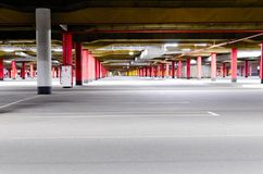 Mall underground parking. Shopping mall underground parking garage, without any cars Royalty Free Stock Photography