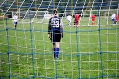 Malla de la meta del fútbol Foto de archivo libre de regalías