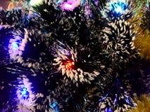 Malla del Año Nuevo con las luces de neón en un primer del árbol de navidad Imagen de archivo