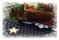 Malla del teclado y del árbol de navidad Navidad Año Nuevo Cierre-u Fotografía de archivo