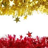 Malla púrpura de la Navidad con las estrellas. Fotografía de archivo