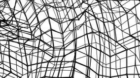 Malla tridimensional de la abstracción negra deformada lentamente en un fondo blanco animado 3d rinden libre illustration