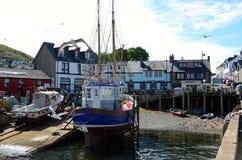 Fischerboot an Mallaig Hafen, Schottland Stockbilder