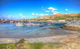 Mallaig-Hafen schottische Hochländer Lochaber Schottland Großbritannien auf der Westküste nahe Insel von Skye in buntem HDR Lizenzfreies Stockfoto