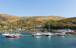 Mallaig Scotland uk west coast of the Scottish Highlands near Isle of Skye in summer with blue sky. Boats in harbour Mallaig Scotland uk port on the west coast Stock Image