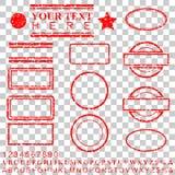 Mallalfabet, nummer, procent, dollar, prick, stjärna, rektangel, linjer oval effekt för rubber stämpel för cirkel för din bestånd stock illustrationer
