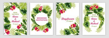Mallar av bröllopinbjudningar med en tropisk modell Tropiska växter och blommor vektor illustrationer