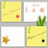 Mallar av fyra julklistermärkear och mellanrum Arkivfoto