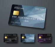 Mallar av krediteringsdebiteringkontokort med svart polygonal abst Royaltyfri Foto
