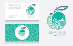 Mallar för affärskort och äpple - logotyp vektor illustrationer