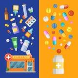 Mallar för baner för vektormediciner vertikala med mediciner och preventivpillerar som fördelar ut ur apotek och flaskan royaltyfri illustrationer