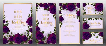 Mallar för bröllopinbjudankort Royaltyfria Bilder