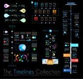 Mallar för den TimelineInfographic designen ställde in 1 på svart Royaltyfri Fotografi