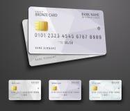 Mallar för design av en krediteringsdebiteringkontokort med en vit Royaltyfria Bilder