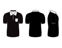 Mallar för design för poloskjorta (framdel-, baksida- och sidosikter) vektor illustrationer