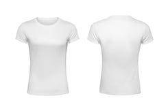 Mallar för designen för skjortan för kvinna` s drar tillbaka och den främre sikten som isoleras på vit Royaltyfria Foton