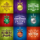 Mallar för julhälsningkort stock illustrationer