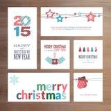 Mallar för kort för hälsning för plan designjul och för nytt år royaltyfri illustrationer
