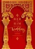 Mallar för kort för inbjudan för bröllop för InIndian bröllopinbjudan carddian med mönstrad guld och kristaller på bakgrund för p vektor illustrationer