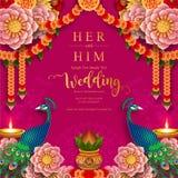 Mallar för kort för inbjudan för bröllop för InIndian bröllopinbjudan carddian med mönstrad guld och kristaller på bakgrund för p stock illustrationer
