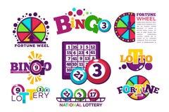 Mallar för logo för Bingolotto- eller medborgarelotteri ställde in stock illustrationer