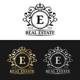 Mallar för logo för vektorfastighetmonogram Lyxig bokstavsdesign Behagfulla tappningtecken med kronasymboler royaltyfri illustrationer