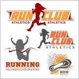 Mallar för logo för körningssportklubba ställde in, emblem för sportorganisationer, turneringar och maraton Arkivbilder