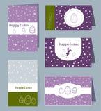 Mallar för påsk för vektorkort gränsar lyckliga med ägg, kaniner, hjärtor och vita ramar asken Typografisk design för illustratio vektor illustrationer