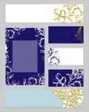 Mallar f?r f?retags identitet med den blom- modellen f?r kontur Textramar med guld- och silverfärger för företags identitet stock illustrationer
