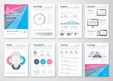 Mallar för Infographic affärsbroschyr för datavisualization Royaltyfria Bilder