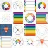 Mallar 16 Infographics cykliska processar åtta positioner Arkivfoton