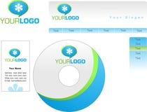 Malldesign av logoen, brevhuvud, baner, heade stock illustrationer