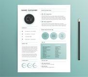 Malldesign för meritförteckning/CV - grön färg för naturkänsel - vektor s royaltyfri illustrationer