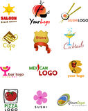 Malldesigner av logoen för coffee shop och resta stock illustrationer