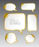 Mallen av olikt tomt guld- anförande bubblar med det krökta hörnet för dialog och tänkte kommunikation vektor illustrationer