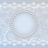 Mallen för att gifta sig hälsning- eller inbjudankortet med snör åt och pryder med pärlor ramen stock illustrationer