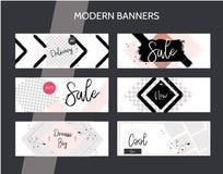 Mallen för banret för modern minsta grungestil kan den horisontal, användas för infographics, social massmediabefordran eller web vektor illustrationer