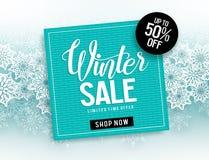 Mallen för banret för vinterförsäljningsvektorn med blått inramar till salu text- & snöflingabeståndsdelar royaltyfri illustrationer