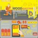 Mallen för begreppsillustrationbanret för det wood hantverket och på linje shoppar Royaltyfria Foton