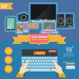 Mallen för begreppsillustrationbanret för elektroniklager och på linje shoppar Royaltyfri Bild