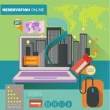 Mallen för begreppsillustrationbanret för hotellreservation och på linje shoppar Arkivbild