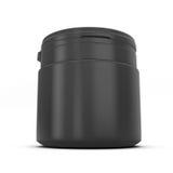 Mallen för design av en svart plast- kan med produkten vektor illustrationer