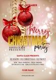 Mallen för designen för affischen för partiet för glad jul med garnering klumpa ihop sig vektor illustrationer