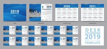 Mallen 2019 för skrivbordkalendern, ställde in av 12 månader, kalendern 2019, 2020, 2021 konstverk, stadsplaneraren, veckastarter royaltyfri illustrationer