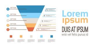 Mallen för tratt för infographicsen för diagrammet för affärstimelineprocessen som används för presentations- och workfloworiente vektor illustrationer