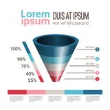 Mallen för tratt för infographicsen för diagrammet för affärstimelineprocessen som används för presentations- och workfloworiente stock illustrationer