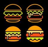 Mallen för uppsättningen för logoen för vektorn för hamburgareabstrakt begreppöversikten, den snabbmat isolerade neonlinjen konst Royaltyfri Foto