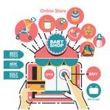 Mallen för vektorillustrationbanret för behandla som ett barn shoppar och on-line shopping Arkivfoton