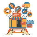 Mallen för vektorillustrationbanret för leksaklager och på linje shoppar Royaltyfria Bilder